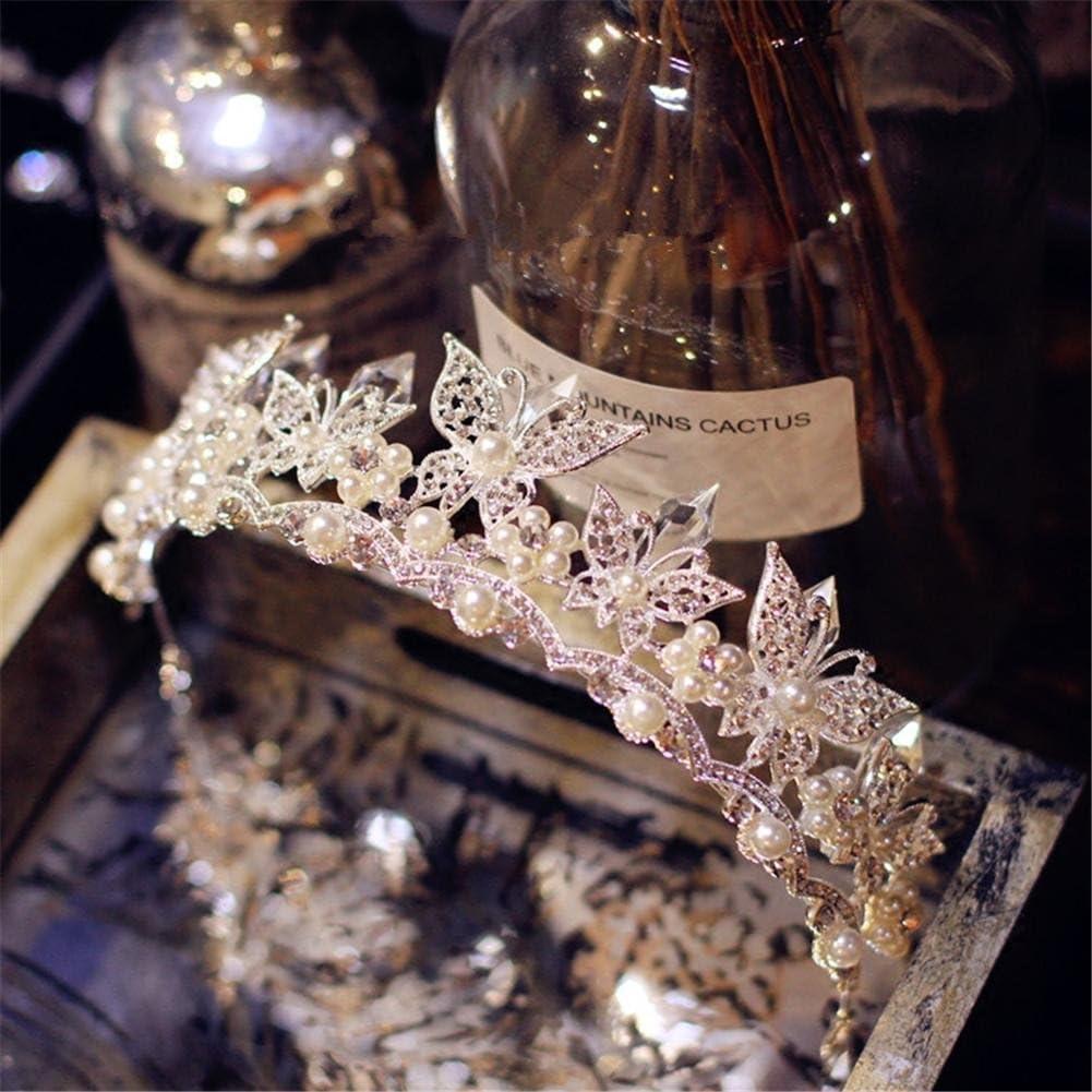 QQA Boda Perla Corona Silver Mariposa Diamante Corona Novia Princesa Fiesta Tocado Vestido De Novia Accesorios