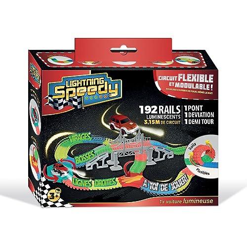 lightning speedy circuit de voiture flexible, modulable et luminescent avec ses accessoires ultra fun - vu à la tv
