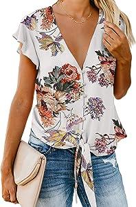Sweepstakes: HOTAPEI Women's Summer Deep V Neck Flutter Sleeve Button...