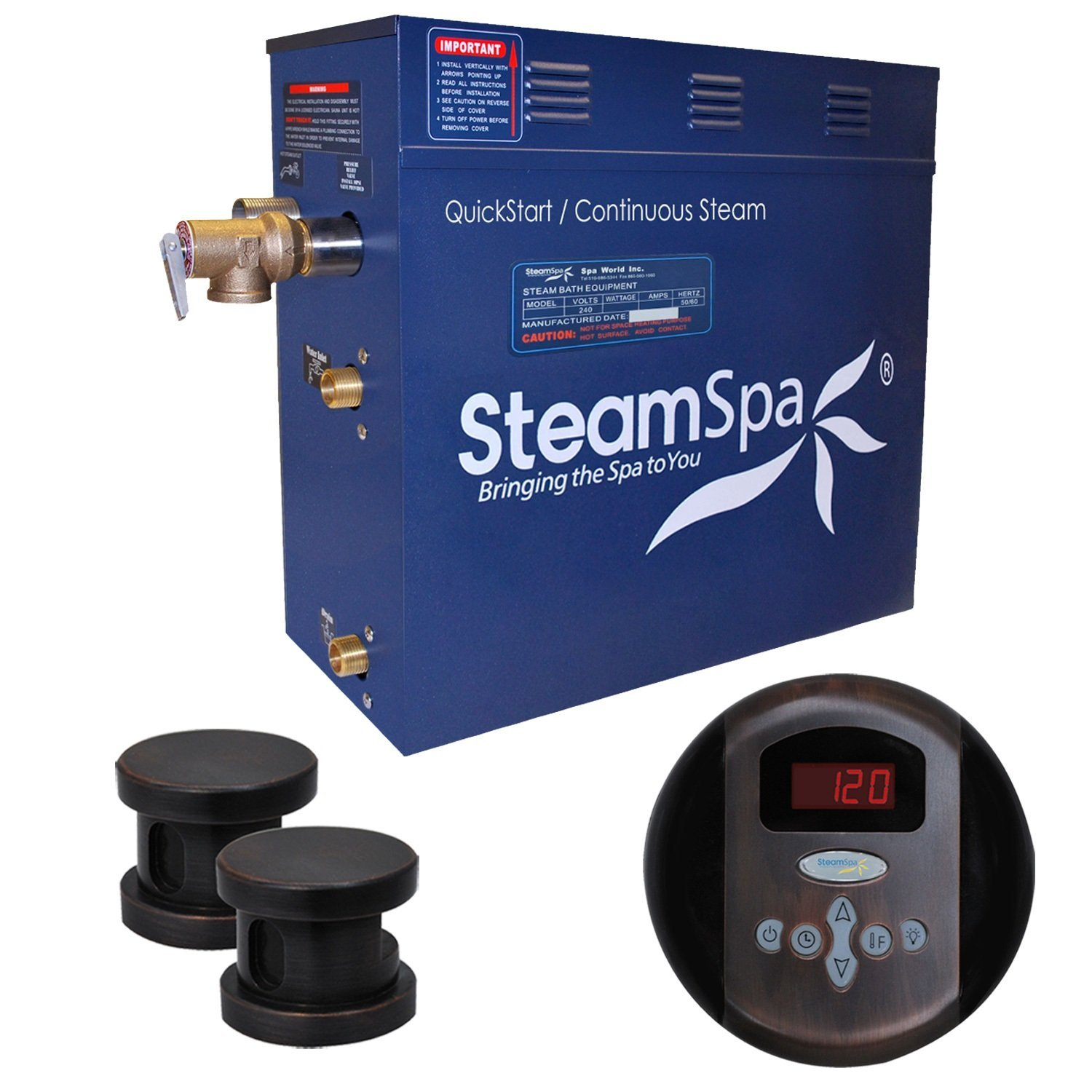 Steam Spa OA1050OB Oasis 10.5 KW Quick Start Acu-Steam Bath Generator Package, Oil Rubbed Bronze