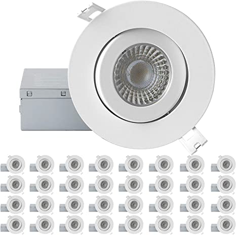 QPLUS 4 Inch Ultra-Thin Adjustable Eyeball Gimbal LED Recessed Lighting with Junction Box//Canless Downlight Dimmable Energy Star and cETLus Listed 10 Watts 4000K Cool White, 1 Pack 750lm
