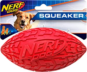 Nerf Dog Tire Football Dog Toy with Interactive Squeaker, Lightweight, Durable and Water Resistant, for Medium/Large Breeds