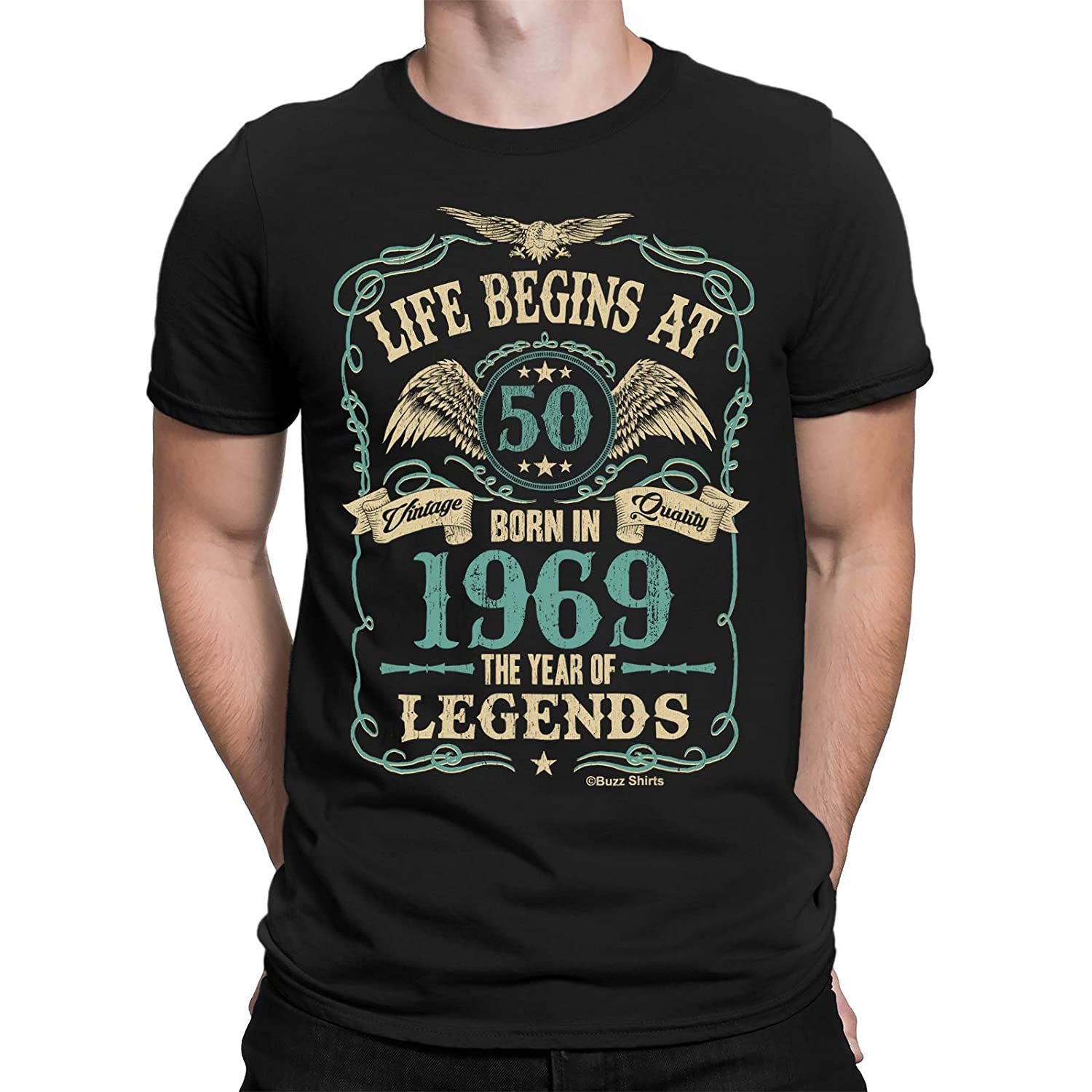 ac1a43103 Buzz Shirts Life Begins at 50 Mens T-Shirt - Born in 1969 Year of Legends 50th  Birthday Gift: Amazon.ca: Clothing & Accessories