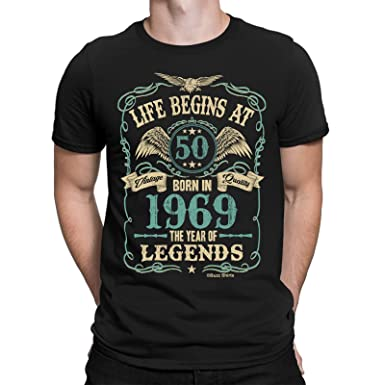 c36edc075 Buzz Shirts Mens 50th Birthday Gift - Life Begins at 50 Mens T-Shirt - Born  in 1969: Amazon.co.uk: Clothing