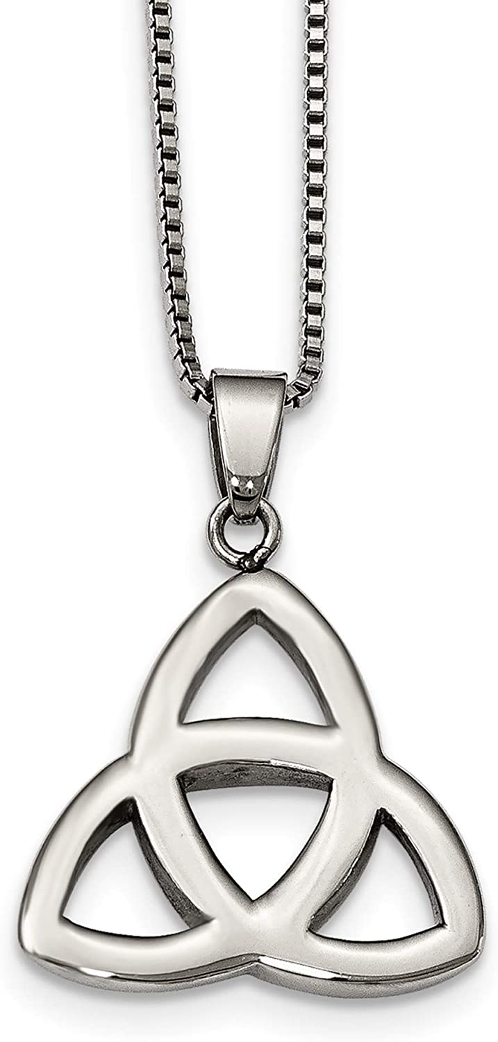 Stainless Steel Polished Trinity Knot Necklace