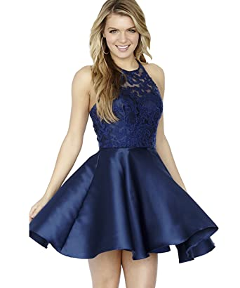 Yilis Womens Halter Lace Homecoming Dress Short Evening Prom Dress Party Gown (Navy Blue US2