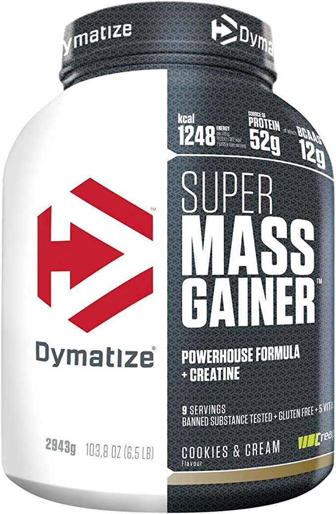 Dymatize Super Mass Gainer Cookies&Cream 2,9kg - Polvo Para Ganar Peso + Carbohidratos, BCAA y Caseína
