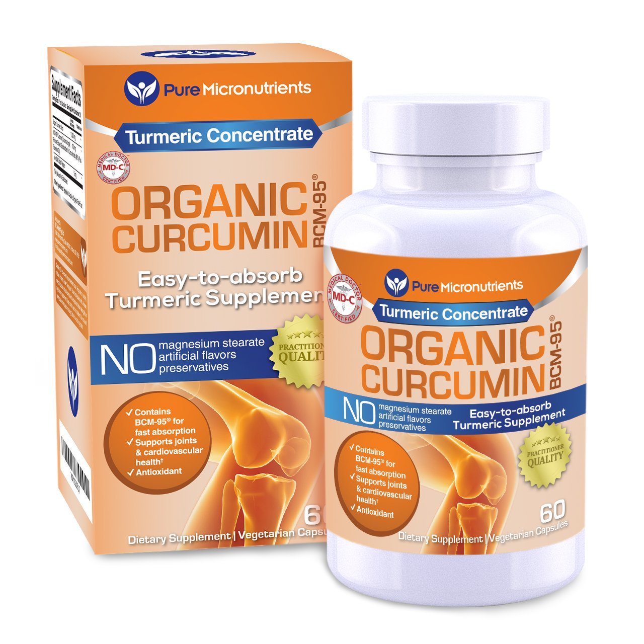 Turmeric Curcumin BCM-95 Supplement + Black Pepper, ORGANIC, 60 Veg. Capsules, 1000 mg - Pure Micronutrients (1 Bottle)