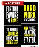 Hard Work Inspirational Posters; Motivational Success, Determination and Goals Quotes, 8x10 Inch, Set of 4
