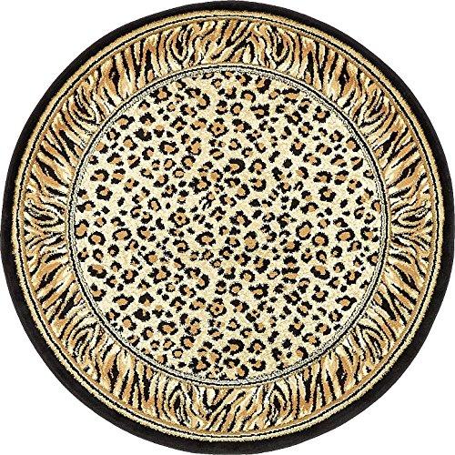Unique Loom Wildlife Collection Cheetah Border Animal Print Light Brown Round Rug (4' 0 x 4' 0) (Round Animal Print Rug)