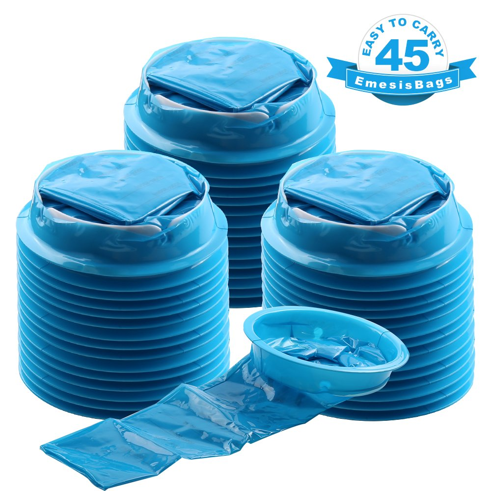 YGDZ 45 Pack Emesis Bags, 1000ml Barf Bags, Blue Vomit Bags Disposable, Aircraft & Car Sickness Bags, Nausea Bags for Travel Motion Hospital