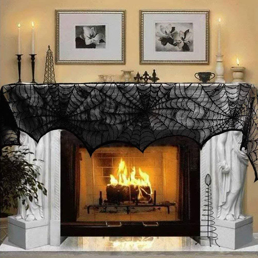 OLES Halloween Fireplace Decoration Black Lace Spiderweb Fireplace Mantle Scarf Decor Cover Festive Supplies for Halloween Party Door Window Horror Spooky Decor 18 x 96inch
