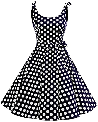 Bbonlinedress 1950's Bowknot Vintage Retro Polka Dot Rockabilly Swing Dress Blue White BDotM
