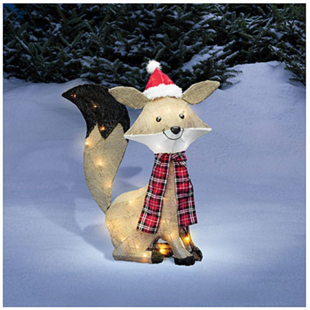 amazoncom pre lit lighted christmas burlap fox christmas outdoor yard decoration home kitchen - Outdoor Lighted Christmas Decorations