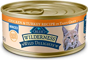 Blue Buffalo Wilderness Wild Delights High Protein Grain Free, Natural Adult Minced Wet Cat Food