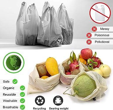 Long reusable fruit and vegetable bag zero waste eco-friendly bulk bag pattern: watermelon washable grocery bag