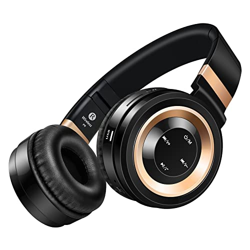 Sound Intone P6 Bluetooth 4.0 Stereo Headphones, Hi Fi Noise Cancelling On Ear Wireless Headset, With Build in Microphone and Volume Control, Comes With Audio Cable, Compatible With Most Phones/ PC/ Tv/ iPhone/ Samsung/ Laptop (Black/Gold)