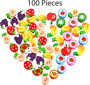 100 Pieces Mini Fruit Erasers Assortment, Colorful Grape, Fruit and Strawberry Assorted Eraser Mini Novelty Fruit Erasers for Party Favors, Homework Rewards, Gift Filling (Style 3, 100 Pieces)