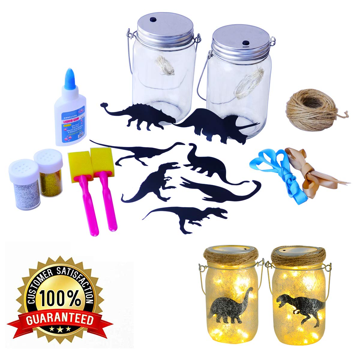 Onnetila Fairy Lantern Craft Kit (2 Pack) Dinosaur Nightlight Kit Make Your Own Fairy Lantern Dino Jar - DIY Craft Project Gift for Boys and Girls