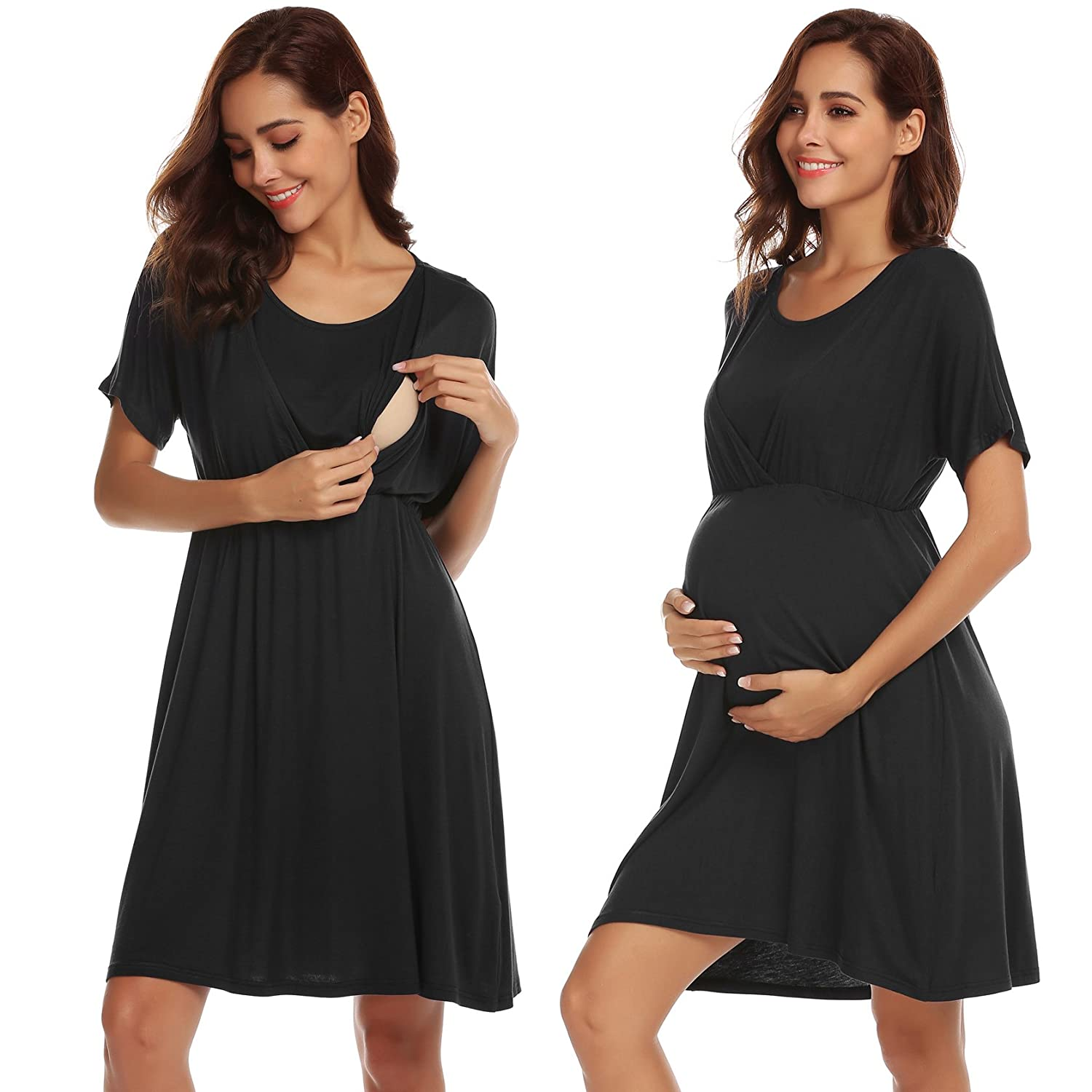da6d2d27967 V Neckline, button down sleep shirts style of this nightshirt is  elegant.Opening button off for an easy access to breastfeeding.