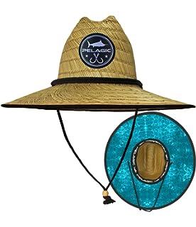 aa793383 Pelagic Baja Straw Hat | Hex Print Underbrim | One Size Fits All Elastic  Headband