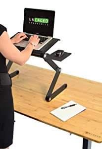 Ergonomic Laptop Standing Desk w/Mouse Pad, 2 Fans, 3 USB Ports. Adjustable Height Angle Sit to Stand Up Table Conversion. Mac Book Cooler Cooling Riser