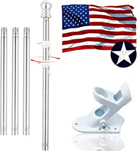 Flag Pole, 6 FT American Flag Flagpole Holder and Kit Clips with Two-Position White Brackets and Flag, Used for Outdoor House Garden Boat Truck Commercial Stainless Steel Flag Pole (Silver)