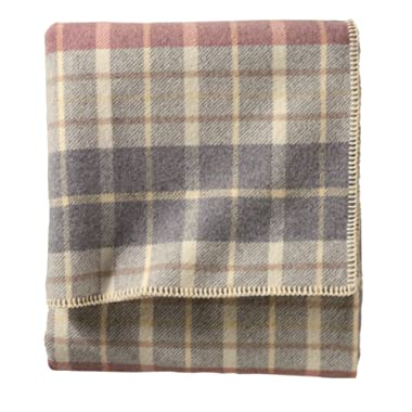 Pendleton Eco-Wise Wool Washable Queen Blanket, Blush/Grey Plaid