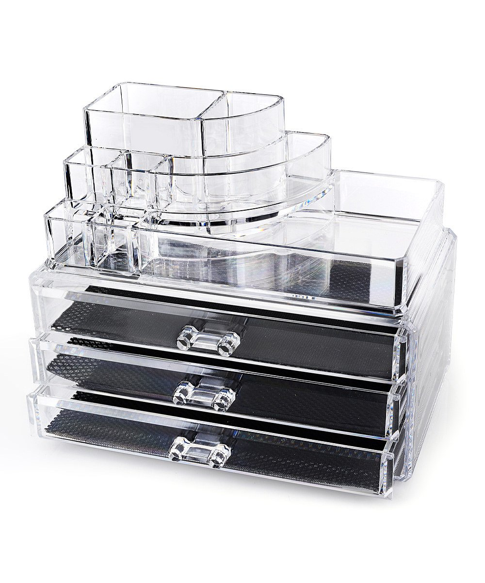 Home-it Clear acrylic makeup organizer cosmetic organizer and Large 3 Drawer Jewerly Chest or makeup storage ideas Case Lipstick Liner Brush Holder make up boxes Organizer measures (10''x6''x7.7'')