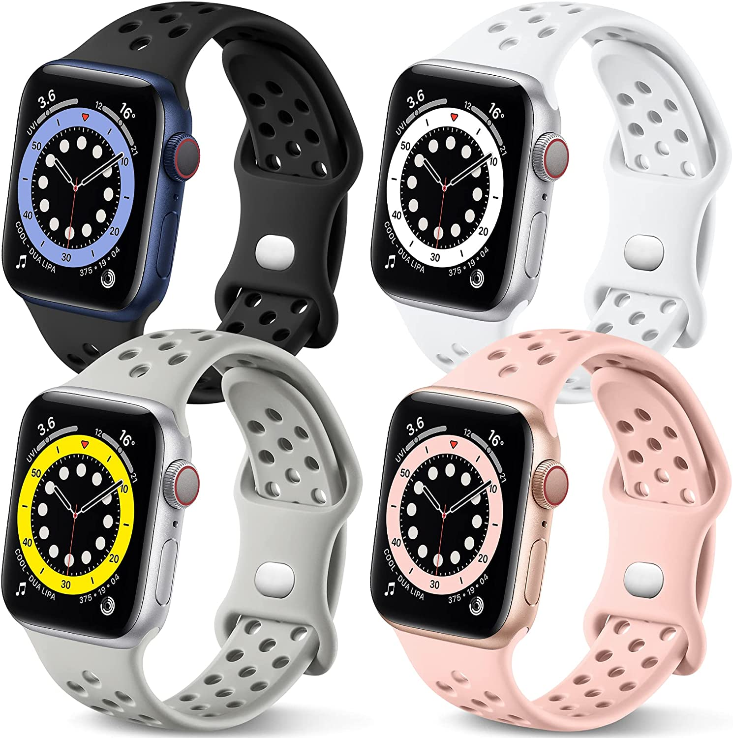 Getino Compatible with Apple Watch Band 40mm 38mm iWatch SE & Series 6 5 4 3 2 1 for Women Men, Stylish Durable Soft Silicone Breathable Sport Replacement Bands, 4 Pack, Black/Pink/White/Gray