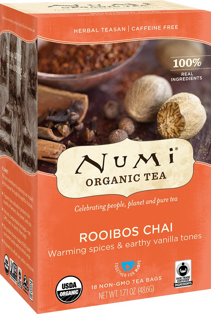 Numi Organic Tea Rooibos Chai, 18 Count Box of Tea Bags (Pack of 6), Herbal Teasan, Caffeine-Free