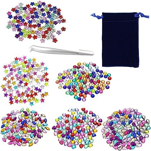 500pc Scrapbook Embellishments Stick on Jewels Assorted Crafts