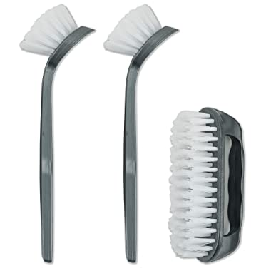 DecorRack Set of 3 Dish and Kitchen Cleaning Brushes, 2 Dish Brushes with Scraper Tip, 1 Multi Purpose Scrub and Surface Brush, Perfect for Scrubbing Sink, – BPA Free - Plastic (Pack of 3)