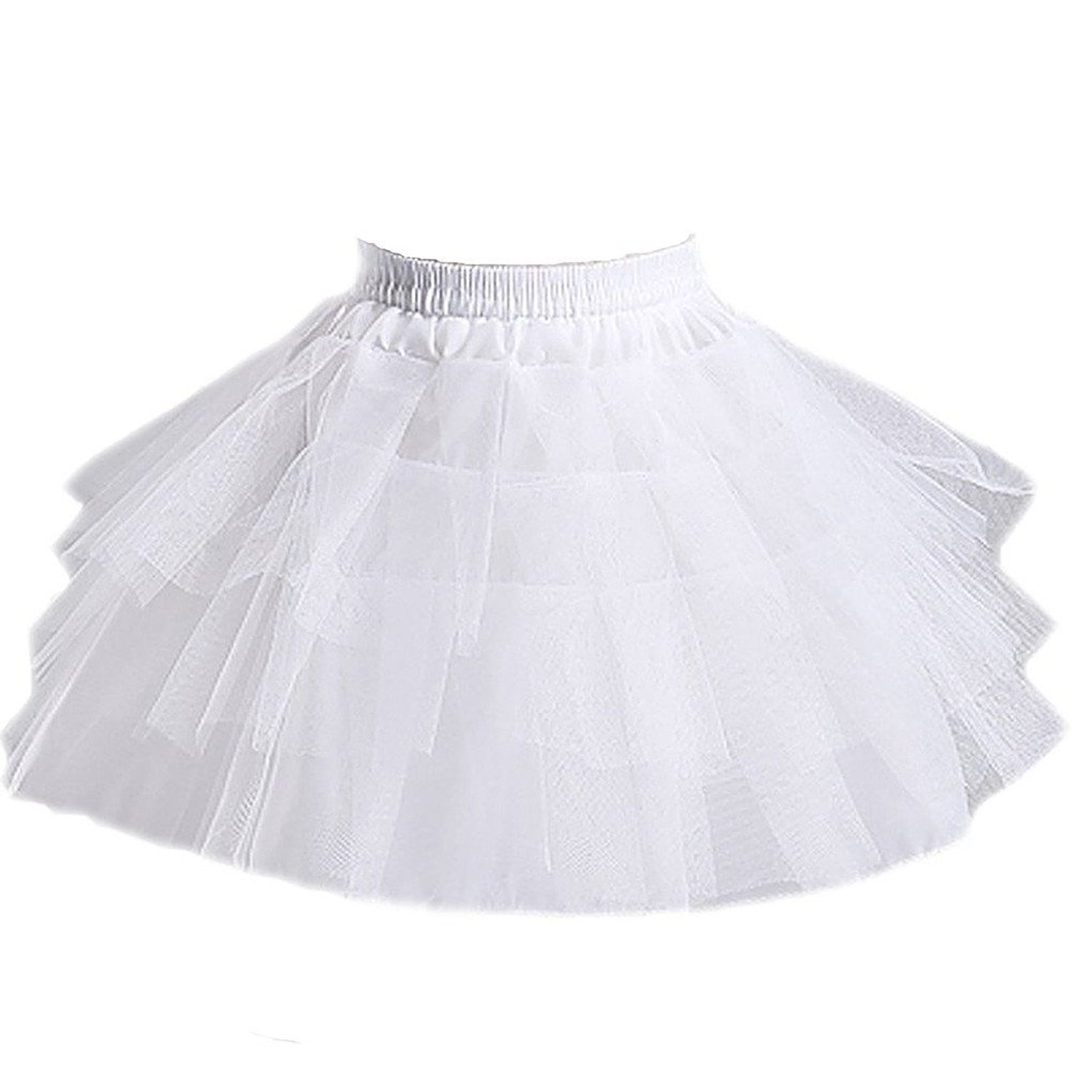 Girls 3 Layers Wedding Flower Girl Petticoat ,White,Large