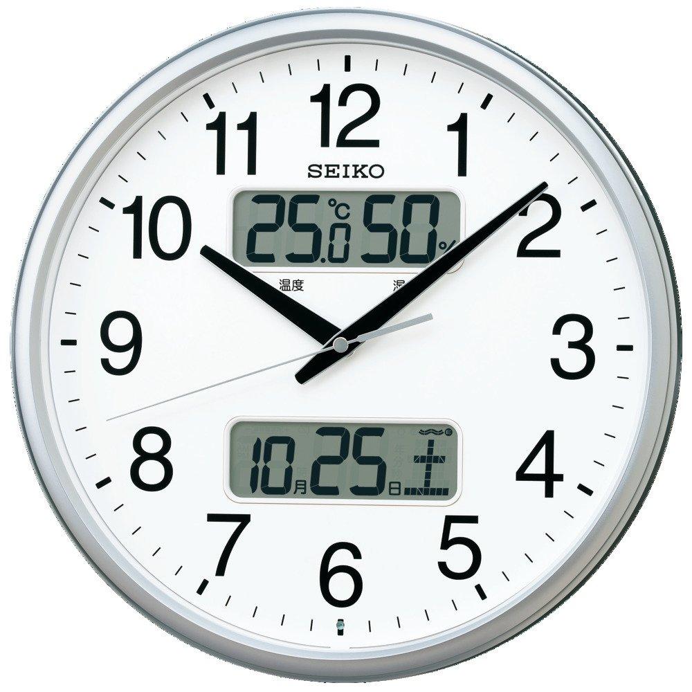 セイコー クロック 掛け時計 電波 アナログ カレンダー 温度 湿度 表示 銀色 メタリック KX235S SEIKO B0784MSNXG銀色メタリック 直径350mm