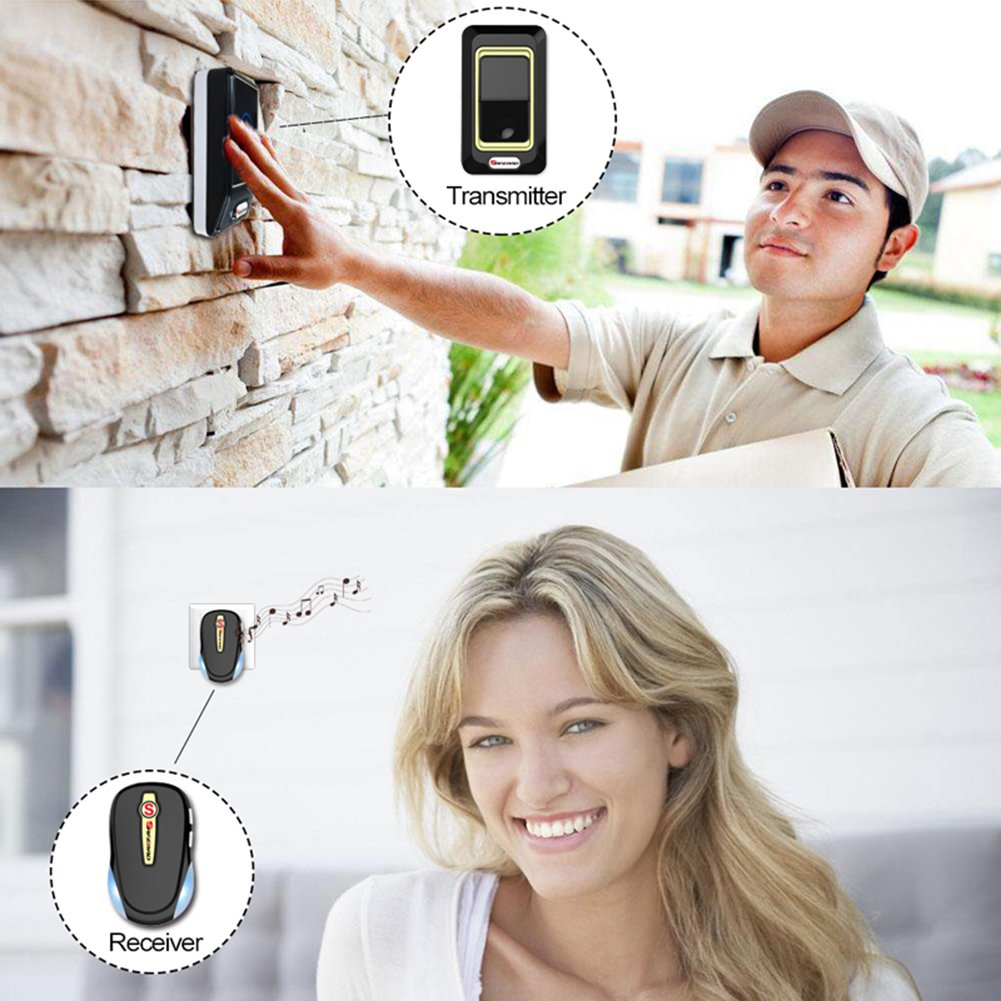 Wireless Door Bell Work Over 820-Feet (250 M) Range With 28 Chimes, 3-Level Adjustable Volume, Includes 2 Plugin Receivers & 1 Remote Button Transmitter,Black by MLL (Image #2)