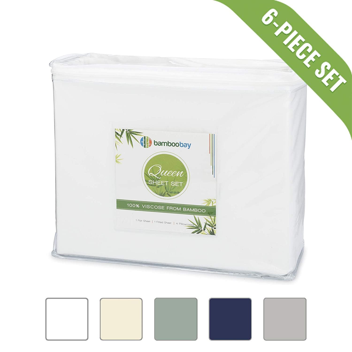 Bamboo Bay 100% Viscose from Bamboo Sheets - Hypoallergenic and Organic 6-Piece Bamboo Sheet Set - Extra Deep Pocket, No-Slip Fitted Sheet - Soft, Cool, and Durable (Queen, White)