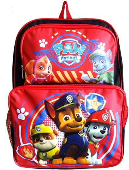 New Deluxe Paw Patrol Chase Marshall Rubble Rocky Skye Rolling Backpack Lunch Bx
