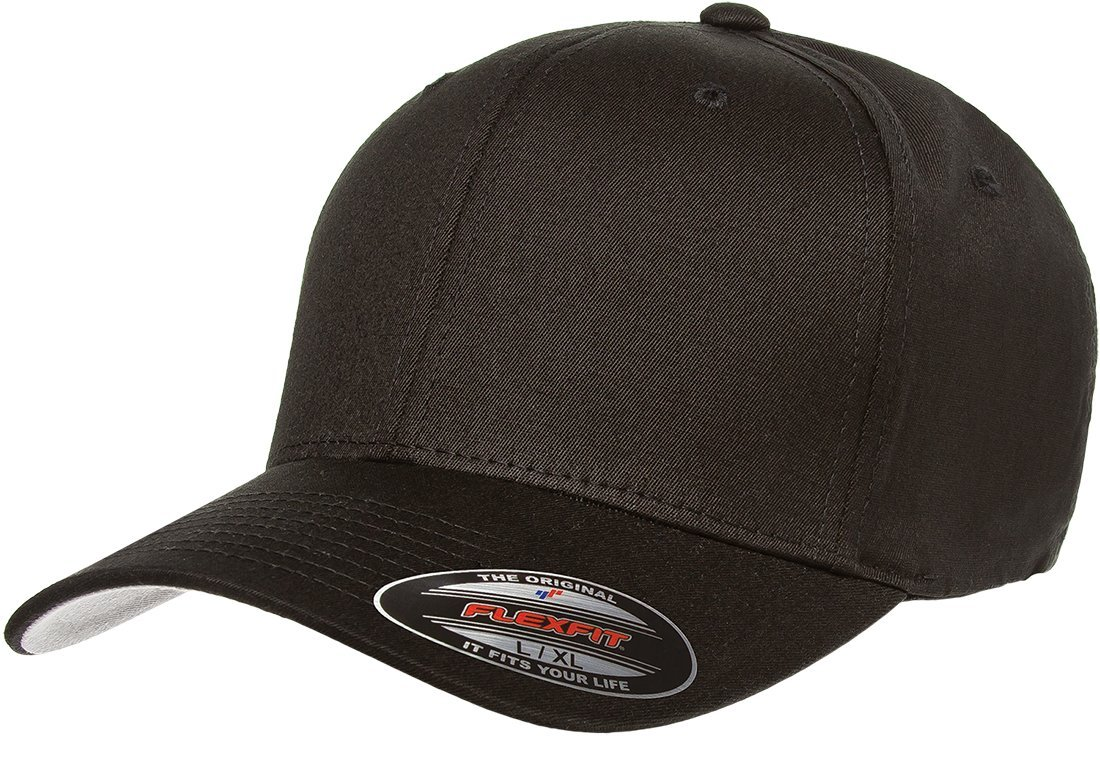 Flexfit The Hat Pros Blank V Cotton Twill Fitted Hat Cap Flex Fit 5001 XXL - Black