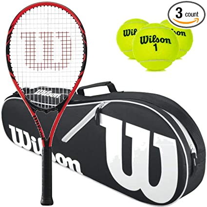 d52d541ad44fe Amazon.com : Wilson Federer Pre-Strung Oversized/Extended Black/Red ...