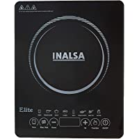 Inalsa Induction Cooktop Elite-2100W with 7 Preset Cooking Modes & Feather Touch Control|Digital Display, Variable Temperature,Power & Timer Selection|Extra Safe Automatic Off Function,(Black)