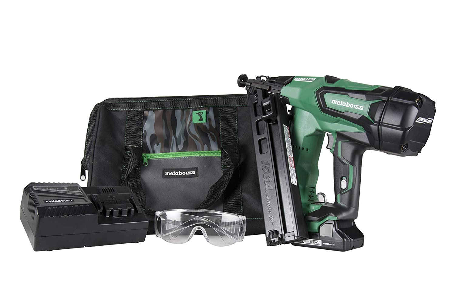 15-Gauge Metabo HPT NT1865DMA 18V Cordless Angled Finish Nailer Kit 1-1//4-Inch up to 2-1//2-Inch Finish Nails Brushless Motor Lifetime Tool Warranty Compact 3.0 Ah Lithium Ion Battery