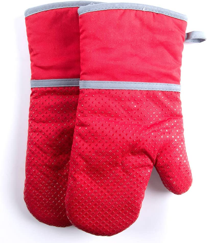 ZingLife Silicone Oven Mitt- 1 Pair- Heat Resistant to 500°F, Recycled Cotton Infill,Non-Slip Oven Gloves for BBQ and Kitchen, Machine Washable Pot Holders Mitts (Red)
