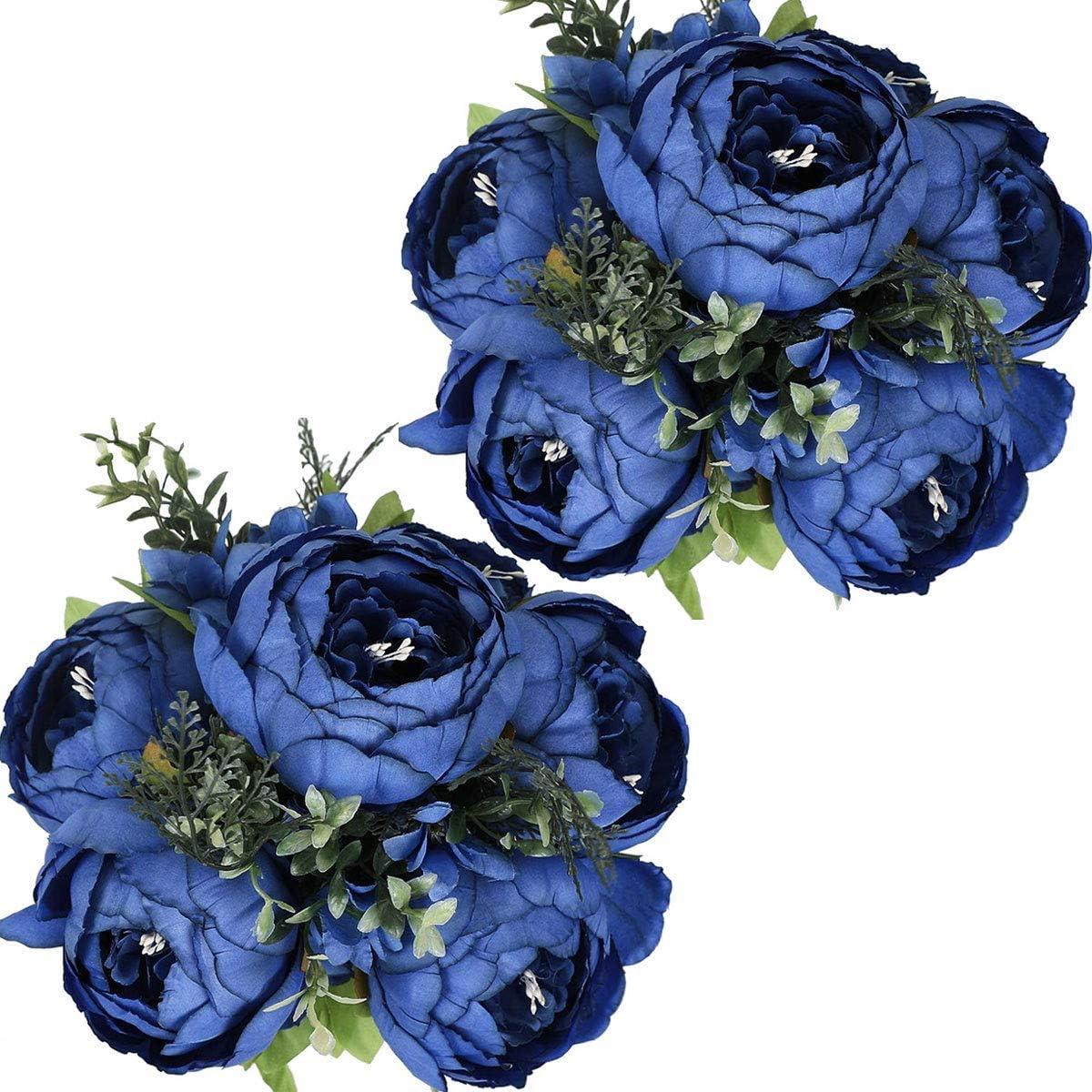 Nubry 2pcs Artificial Peony Silk Flowers Bouquet for Wedding Home Garden Party Decoration (Blue)