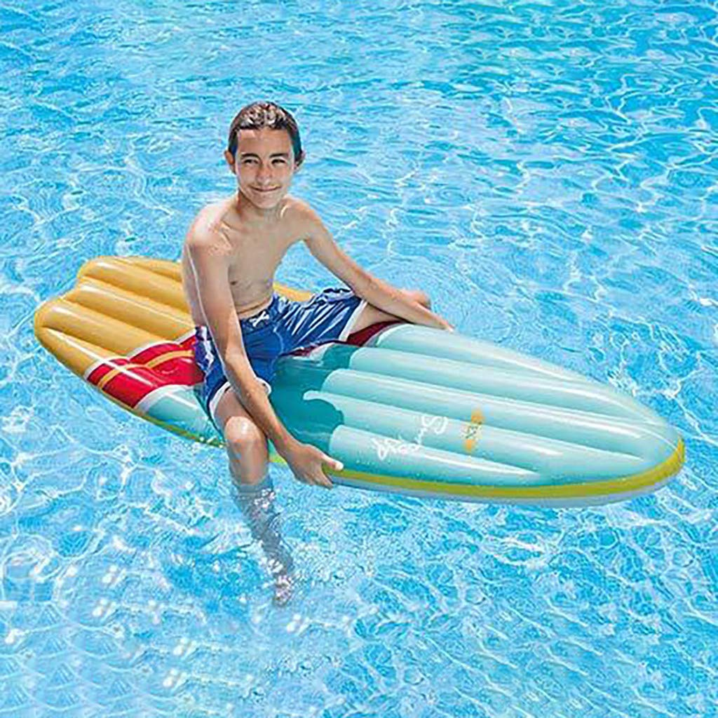 Luonita Inflatable Surf Board Children's Fun Surfboard Inflatable Floating Row Useful Shark Luau Decoration Beach Pool Toy for Children Interest Auxiliary Board (Blue)