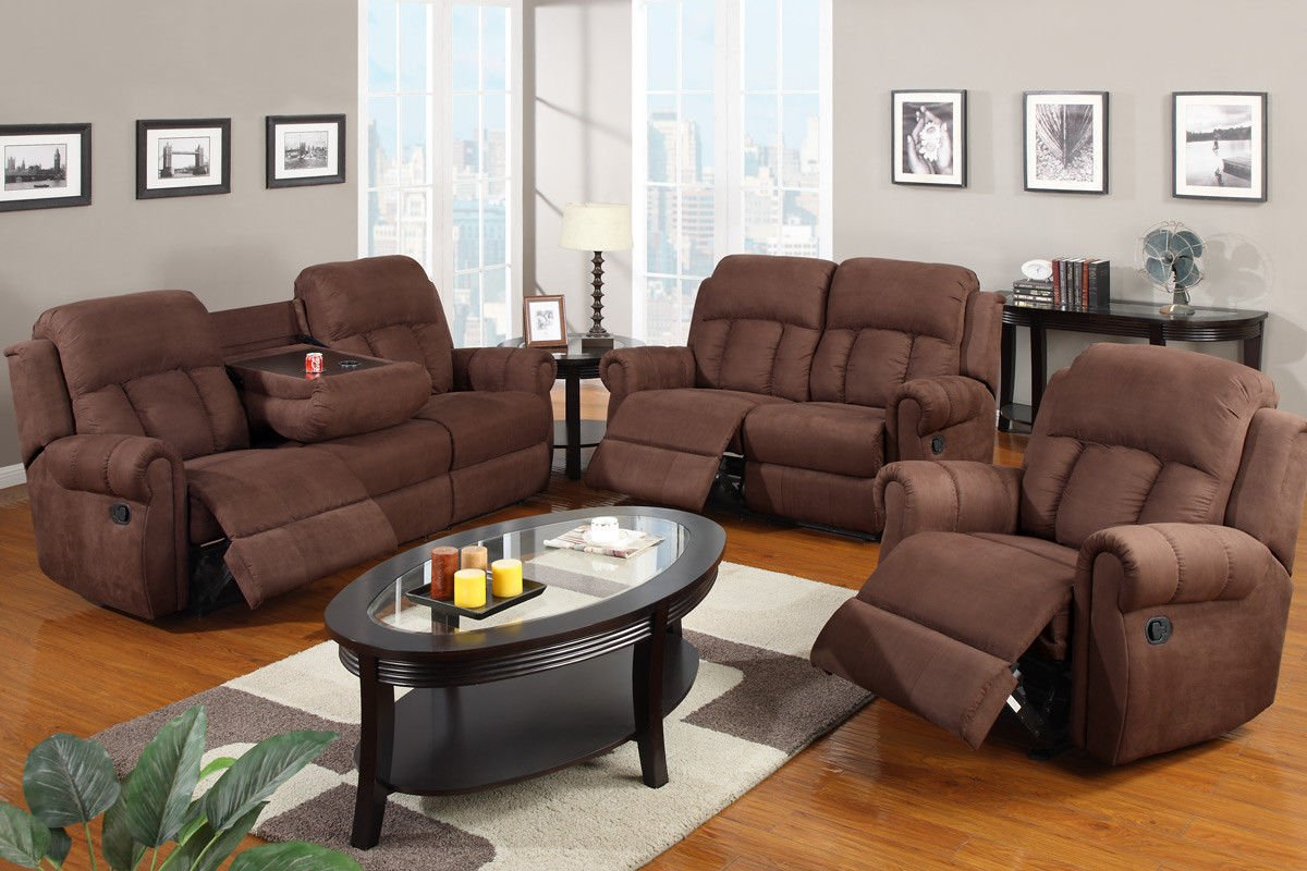 Amazon.com: Poundex F7048/F7049/F7050 Chocolate Microfiber Fabric Sofa Set  With Recliners: Kitchen U0026 Dining