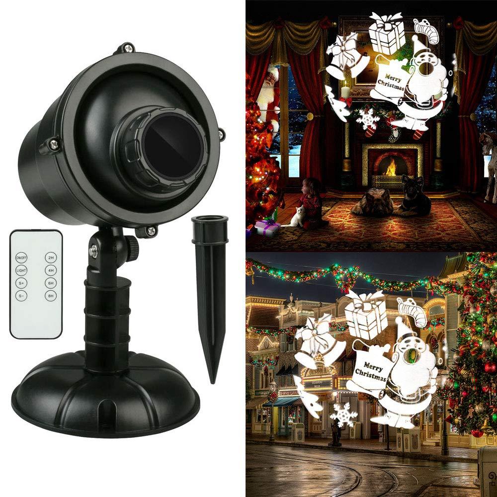 Christmas Projector Light Proiettore Luci Natale Lampada LED Proiettore con Wireless Telecomando, Esterno Interno lampada da Giardino Proiettore per Pareti, Festa, Palcoscenico, Pub (EU Adapter) Fodsports
