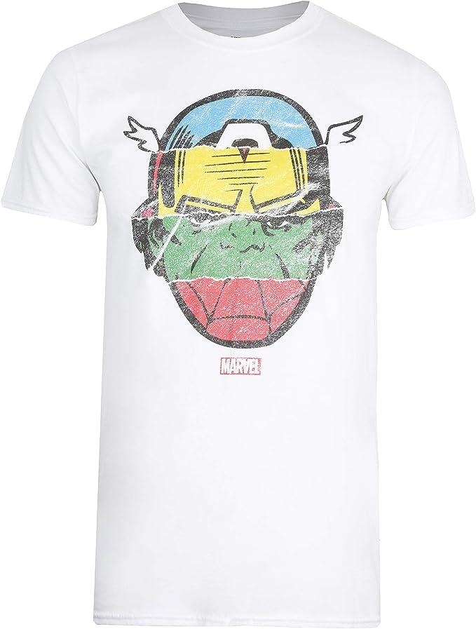 Marvel Avengers Faces-Mens T Shirt SML Camiseta, Blanco (White Wht ...