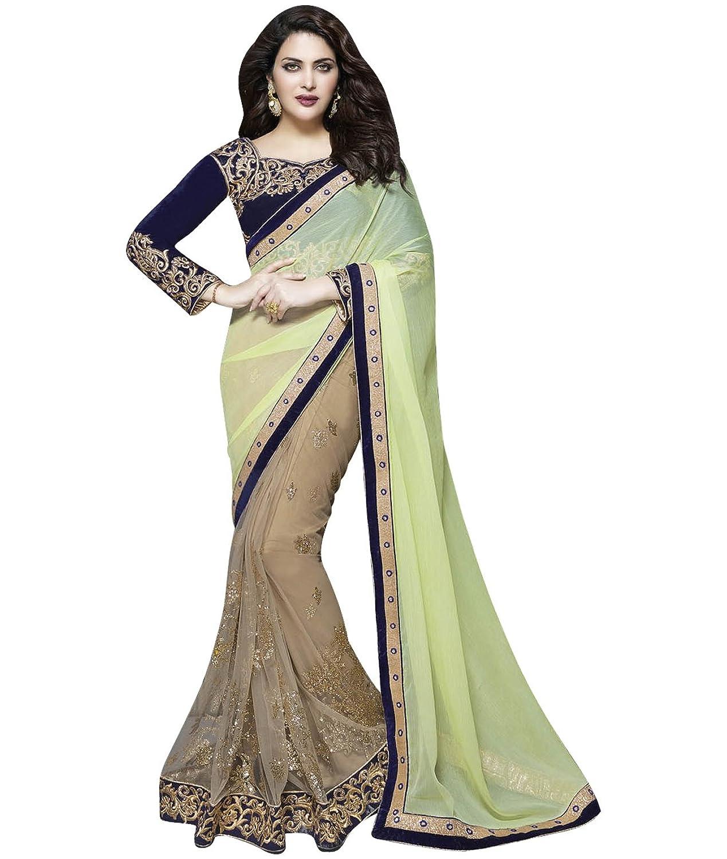 Indian Ethnic Bollywood Wedding Chiffon Green, Beige Fancy Saree