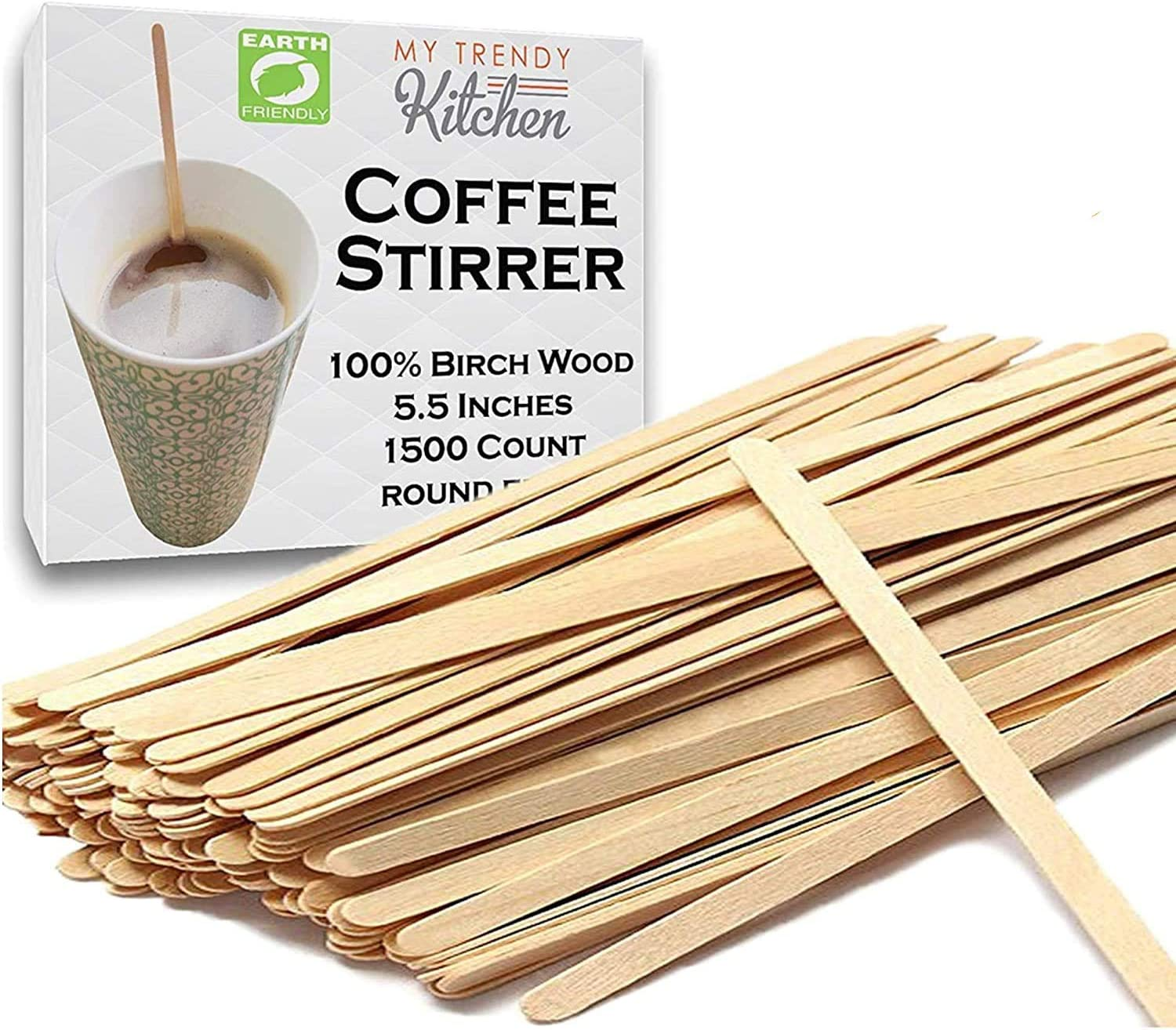 Wooden Coffee Stir Sticks (3000 Count) - Eco-Friendly, Biodegradable Splinter-Free Birch Wood - Disposable Drink Stirrers for Beverage, Tea, and Crafts with Round Ends